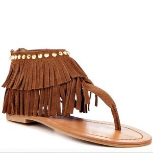 {Steve Madden} Klingee Boho Leather Fringe Sandals
